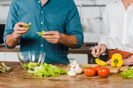 Photo for Cropped image of mature wife and husband preparing salad in kitchen - Royalty Free Image