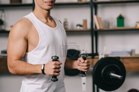 Photo for Cropped view of muscular bi-racial man exercising with dumbbells - Royalty Free Image