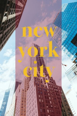 "Photo for Low angle view of skyscrapers and cloudy sky with yellow ""new york city"" lettering in new york, usa - Royalty Free Image"