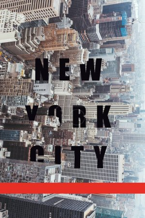 "Photo for Aerial view of architecture with ""new york city"" lettering and red line, new york, usa - Royalty Free Image"