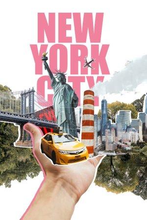 Foto de Vista parcial de la mano masculina con la ciudad de nueva york, taxi amarillo, estatua de la libertad y árboles corta ilustración aislado en blanco - Imagen libre de derechos