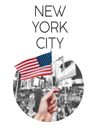 """partial view of man holding american flag on new york city street in circle frame with """"new york city"""" lettering isolated on white"""