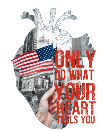 "Photo for Partial view of man holding american flag on new york city street in heart frame with ""only do what your heart tells you"" lettering isolated on white - Royalty Free Image"