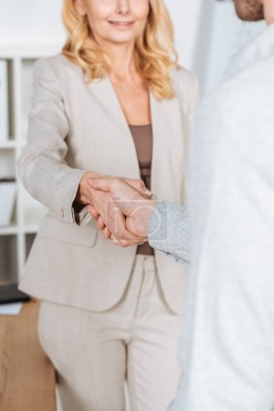 cropped shot of professional businessman and businesswoman shaking hands in office