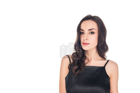portrait of woman posing in black dress isolated on white