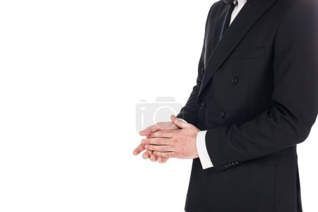 Photo for Cropped view of man posing in black elegant tuxedo isolated on white - Royalty Free Image