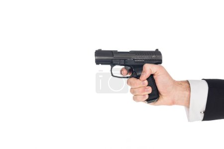 partial view of killer aiming with gun, isolated on white