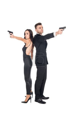 couple of secret agents aiming with weapon, isolated on white