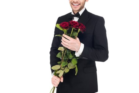 cropped view of man in black suit holding red roses for valentines day, isolated on white
