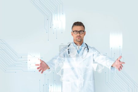 Photo for Handsome doctor in glasses with stethoscope on shoulders standing with open arms and brain interface - Royalty Free Image