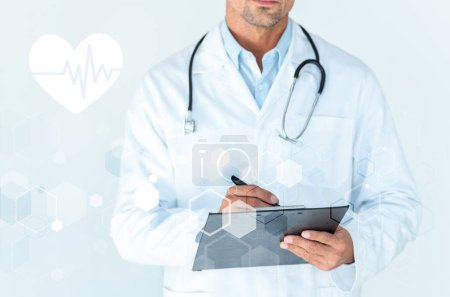 Photo for Cropped image of doctor with stethoscope on shoulders writing something in clipboard on white with heartbeat and medical interface - Royalty Free Image