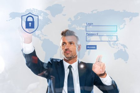 handsome businessman touching security icons, world map and login isolated on white, artificial intelligence concept