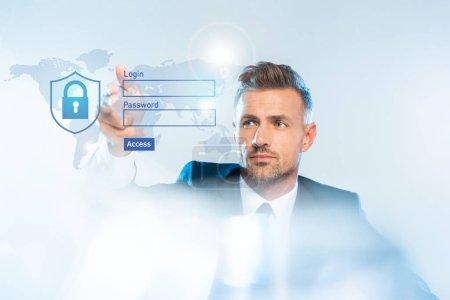 Photo pour Bel homme d'affaires adulte en costume de toucher la carte du monde et connexion isolé sur blanc, le concept d'intelligence artificielle - image libre de droit