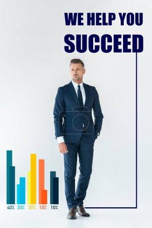 """Photo pour Bel homme d'affaires en costume bleu debout et regardant loin isolé sur blanc avec le lettrage """"nous vous aidons à réussir"""" - image libre de droit"""