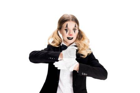 Photo pour Gai femme clown montrant tour en costume isolé sur blanc - image libre de droit