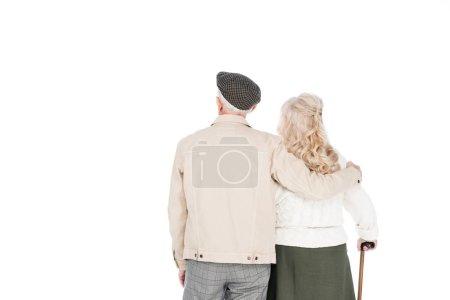 Photo pour Vue arrière du pied couple retraité isolé sur blanc - image libre de droit