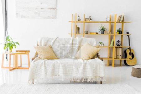 Photo for Modern living room with sofa, coffee table and bookshelf - Royalty Free Image