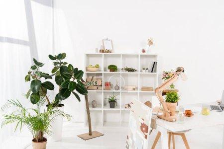 Foto de Espacio de trabajo con las plantas verdes y escritorio en la oficina moderna - Imagen libre de derechos