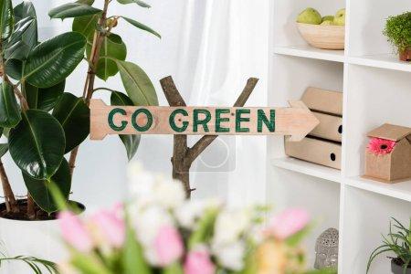 Foto de Enfoque selectivo de la señal de madera con ir verde Letras cerca de plantas en la oficina, concepto ahorro ambiental - Imagen libre de derechos