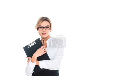 Photo for Blonde teacher in blous, glasses with pen and clipboard isolated on white - Royalty Free Image