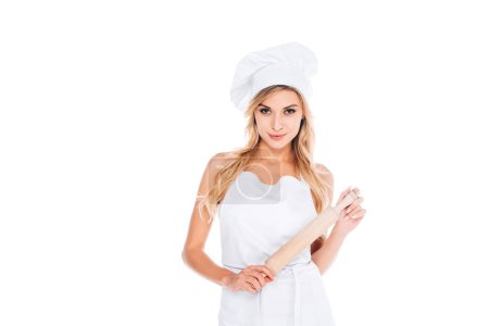 Photo for Attractive cook woman in uniform holding rolling pin isolated on white - Royalty Free Image