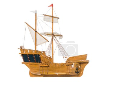 Photo for Vintage ship model floating in air isolated on white with copy space - Royalty Free Image