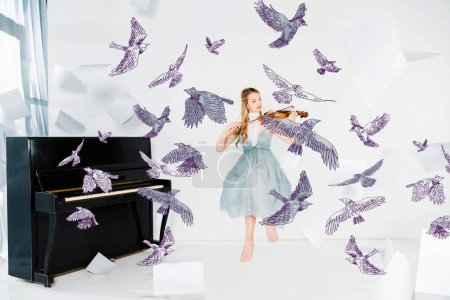 Photo for Floating girl in blue dress playing violin with birds illustration - Royalty Free Image