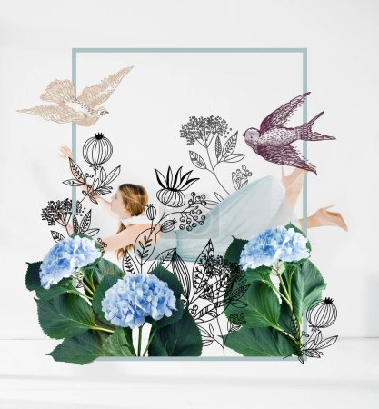 floating girl in blue dress with flowers and birds illustration