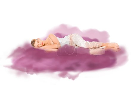 Photo for Girl in pyjamas sleeping with purple cloud illustration - Royalty Free Image