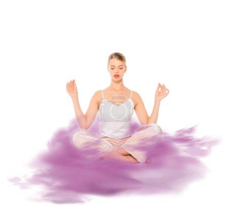 Photo pour Fille en posture de lotus méditation avec illustration nuage pourpre - image libre de droit