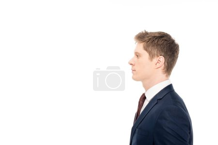 Photo pour Vue latérale du bel homme d'affaires élégant isolé sur blanc - image libre de droit
