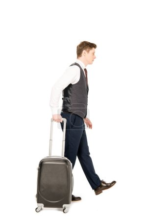 Photo for Stylish businessman walking with suitcase for business trip, isolated on white - Royalty Free Image