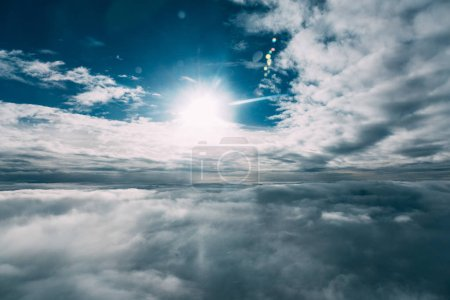 Photo for Beautiful blue sunny sky with white clouds - Royalty Free Image