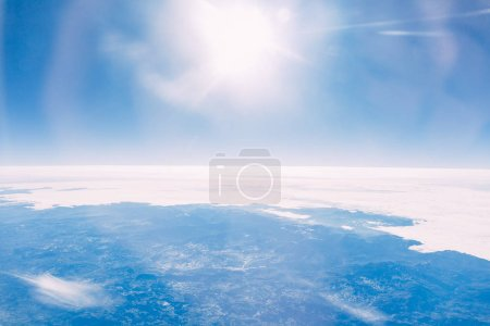 beautiful clear sunny sky and land aerial view