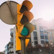 Selective focus of traffic light with multistory h...