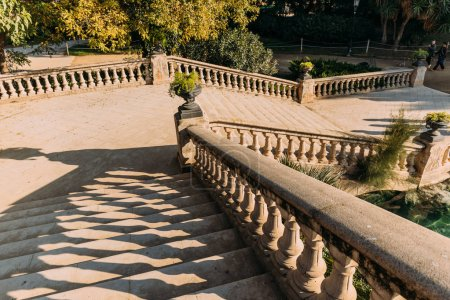 Photo for BARCELONA, SPAIN - DECEMBER 28, 2018: stone staircase and balustrade with vases in Parc de la Ciutadella - Royalty Free Image