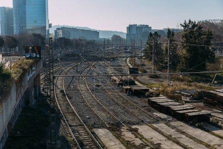 BARCELONA, SPAIN - DECEMBER 28, 2018: urban scene with railways and high buildings