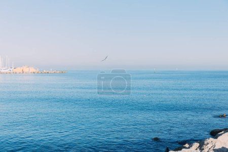 BARCELONA, SPAIN - DECEMBER 28, 2018: scenic view of tranquil sea and clear blue sky