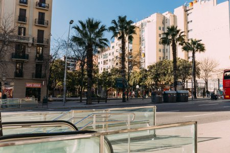 BARCELONA, SPAIN - DECEMBER 28, 2018: wide street with multistory building and tall green palm trees