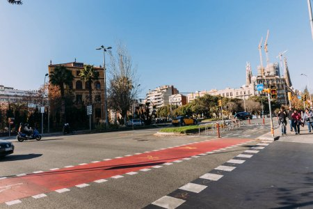 Photo for BARCELONA, SPAIN - DECEMBER 28, 2018: wide roadway with markings and bicycle lane - Royalty Free Image