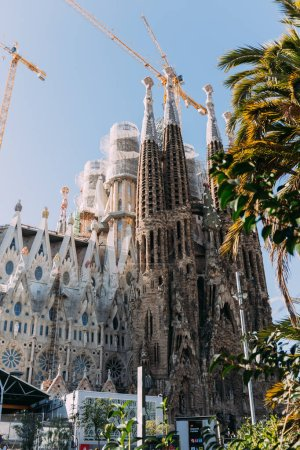 BARCELONA, SPAIN - DECEMBER 28, 2018: selective focus of Temple Expiatori de la Sagrada Familia, one of the most famous buildings of Barcelona, built by Antoni Gaudi