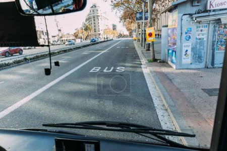 Photo for BARCELONA, SPAIN - DECEMBER 28, 2018: urban scene with wide city roadway with markings - Royalty Free Image