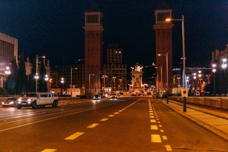 Photo for BARCELONA, SPAIN - DECEMBER 28, 2018: night scene of roadway leading to gorgeous Torres Venecianes and Plaza de Espana - Royalty Free Image