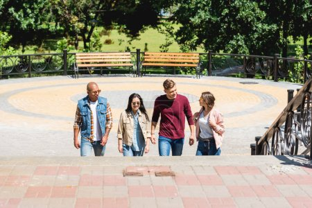 Photo for Multicultural group of friends smiling in park - Royalty Free Image