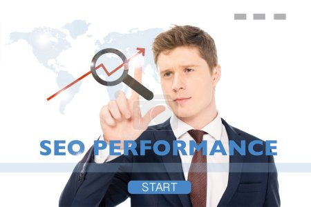 Photo for Successful businessman in suit pointing with finger at seo performance illustration on white background - Royalty Free Image