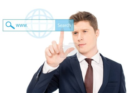 Photo for Successful businessman in suit pointing with finger at search button illustration on white background - Royalty Free Image