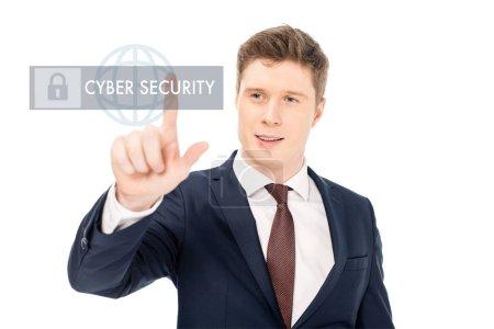 Foto de Hombre de negocios acertado traje apuntando con el dedo en la ilustración de seguridad cibernética sobre fondo blanco - Imagen libre de derechos