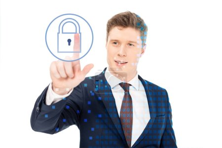 Photo for Successful businessman in suit pointing with finger at lock illustration on white background - Royalty Free Image