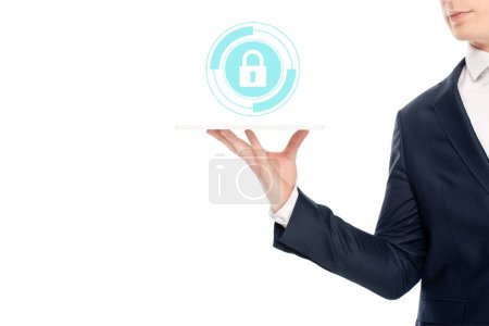 Photo for Cropped view of businessman holding digital tablet with lock illustration above - Royalty Free Image