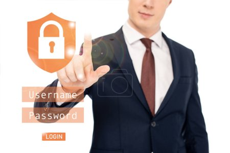partial view of businessman in suit pointing with finger at lock illustration
